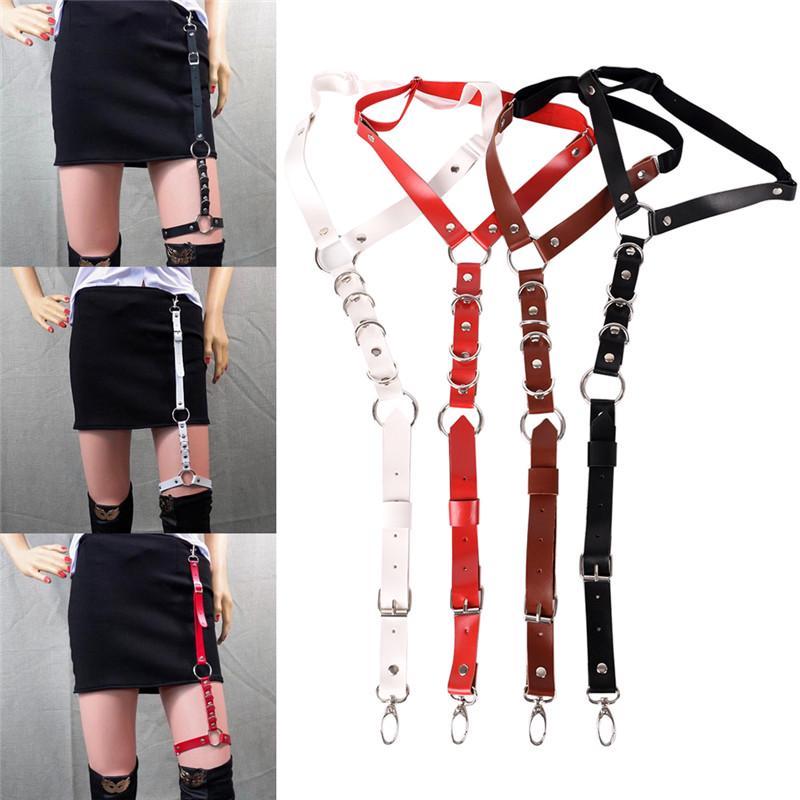 Men Women Fashion Harajuku Single Strap Clip Leather Punk Suspender Hook Adjustable Leg Ring Handmade Sock Garter Women's Accessories