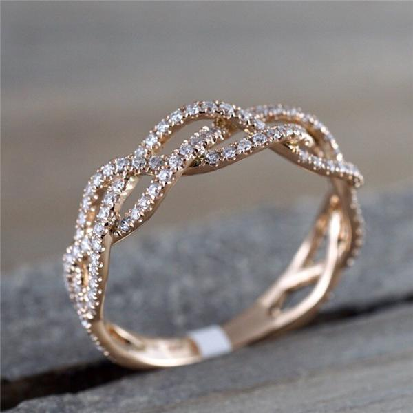Womens Mens Ring Thin Ring Twist Shape Titanium Steel 4 Colors Simple Rings Girls Women Party Jewelry Girlfriend Gift
