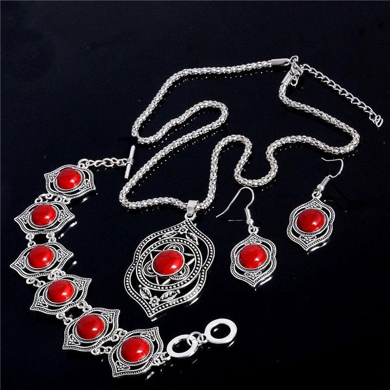 Роскошь тибетский серебряный цвет Gem бирюзовый камень Наборы свадебных ювелирных украшений для женщин фото