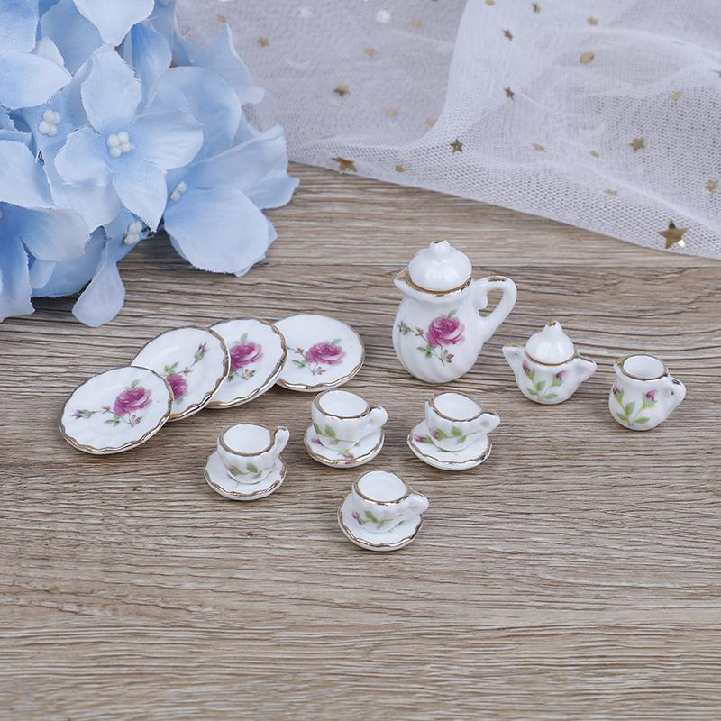 15Pcs 1:12 Dollhouse Miniature Porcelain Tea Cup Set Dollhouse Kitchen uh
