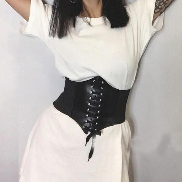 Women Leather Wide Tied Waistband Elastic Waist Cincher Corset Waspie Belt Hot
