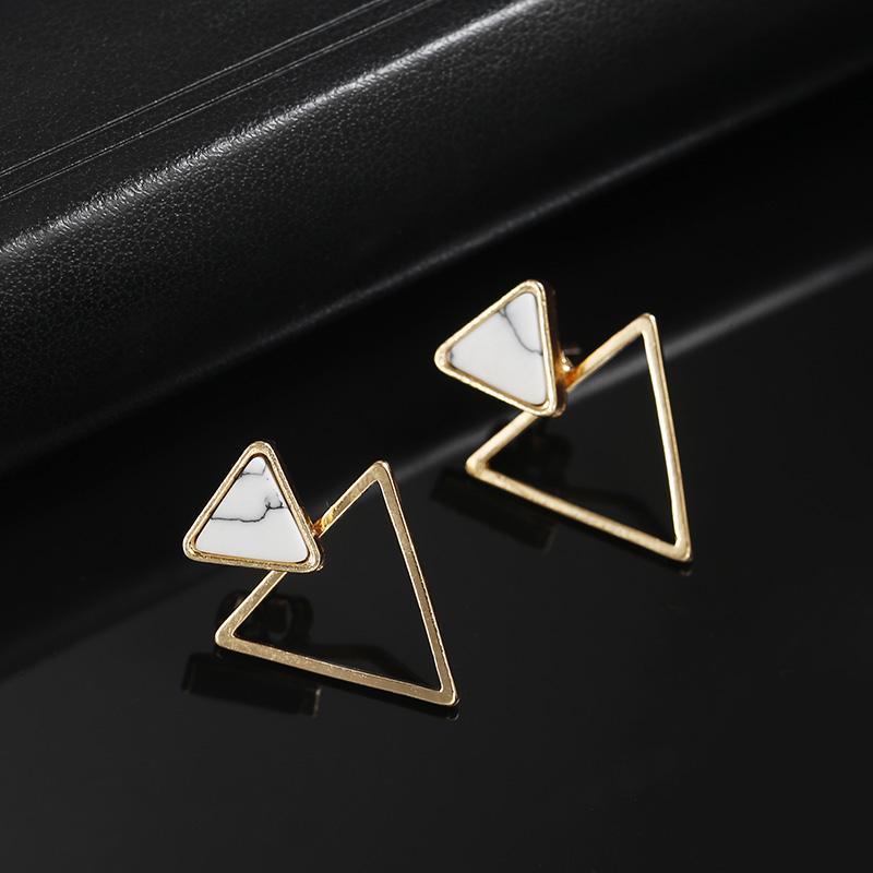 Панк Мода Треугольник Геометрические Серьги Белый Faux Камень стад серьги для женщин участник ювелирных изделий фото