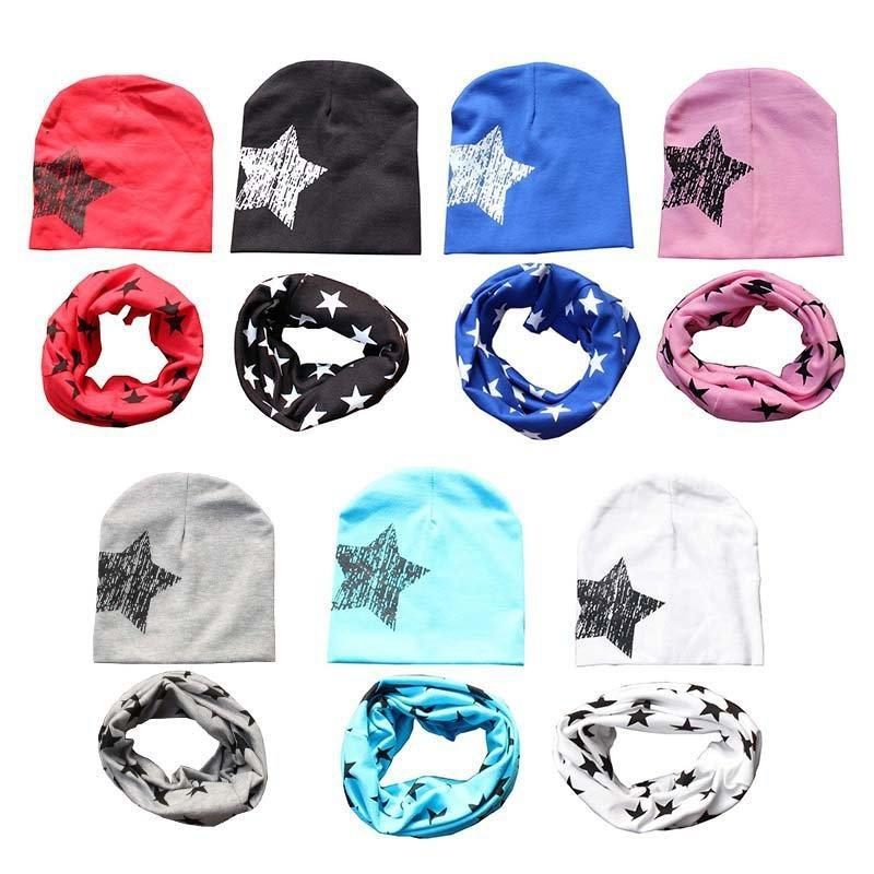 儿童帽子批发秋冬韩版五角星帽子围巾二件套 韩国毛线