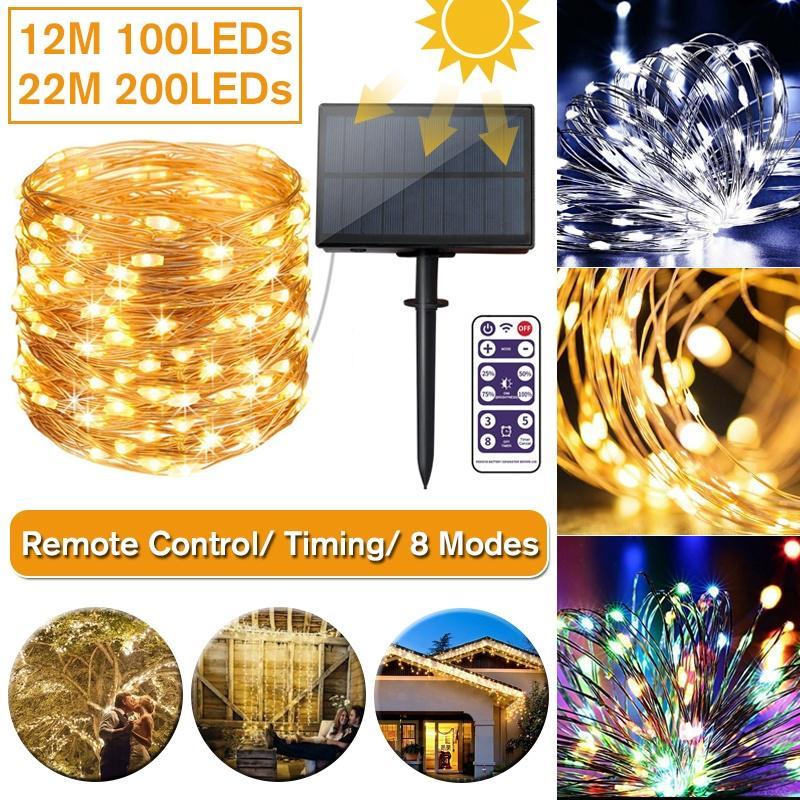 12//22M 200LED String Lights Solar Garden Path Yard Decor Lamp Outdoor Waterproof