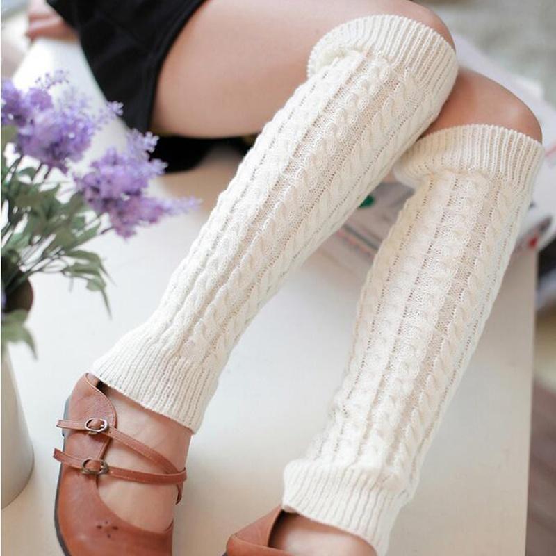 Las mujeres invierno cálido punto rodilla alta pata de ganchillo ...