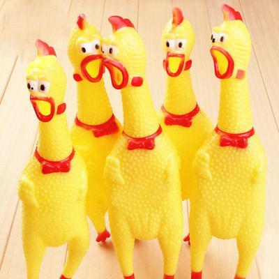 17CM Yellow Screaming Rubber Chicken Pet Dog Toy Squeak Squeaker Chew Gift 1 Pc