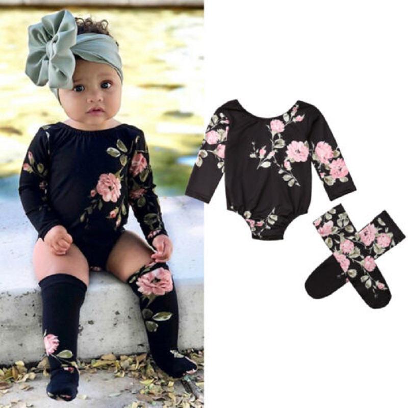 Newborn Baby Girls Floral Bodysuit Jumpsuit Long Sleeve Romper Playsuit Outfits