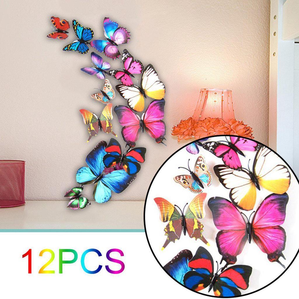 12Pcs//Set 3D Butterfly Wall Stickers Art Decals Home Bedroom Decor DIY Z0D6