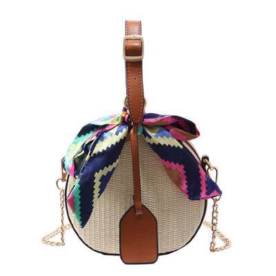 107bc8d7cde8 Yogodlns цепи плечо мешок женщин Messenger сумки раунд солома сумки пляж  сумочка