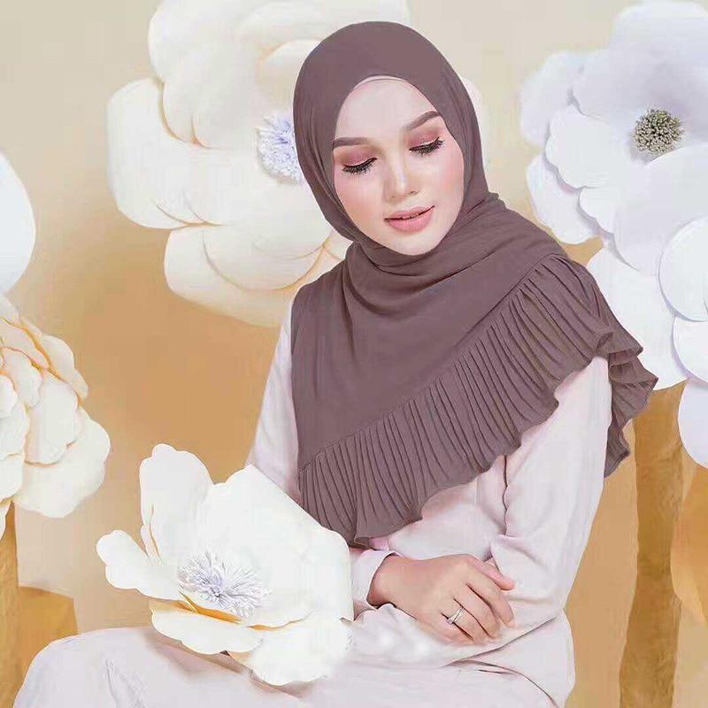 Chiffon Long Scarf Muslim Stickerei Hijab Arab Wrap Schal Kopfbedeckung Indien
