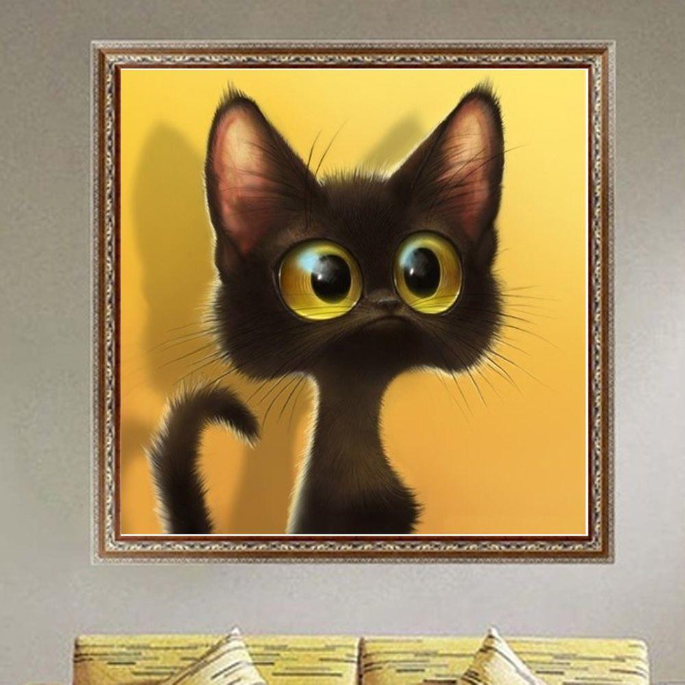 批发2016外贸国外热销十字绣新款客厅5d钻石画大眼猫咪工厂直销
