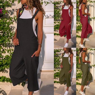 Women Sleeveless Dungarees Jumpsuit Strap Playsuit Romper Camo Loose Overalls