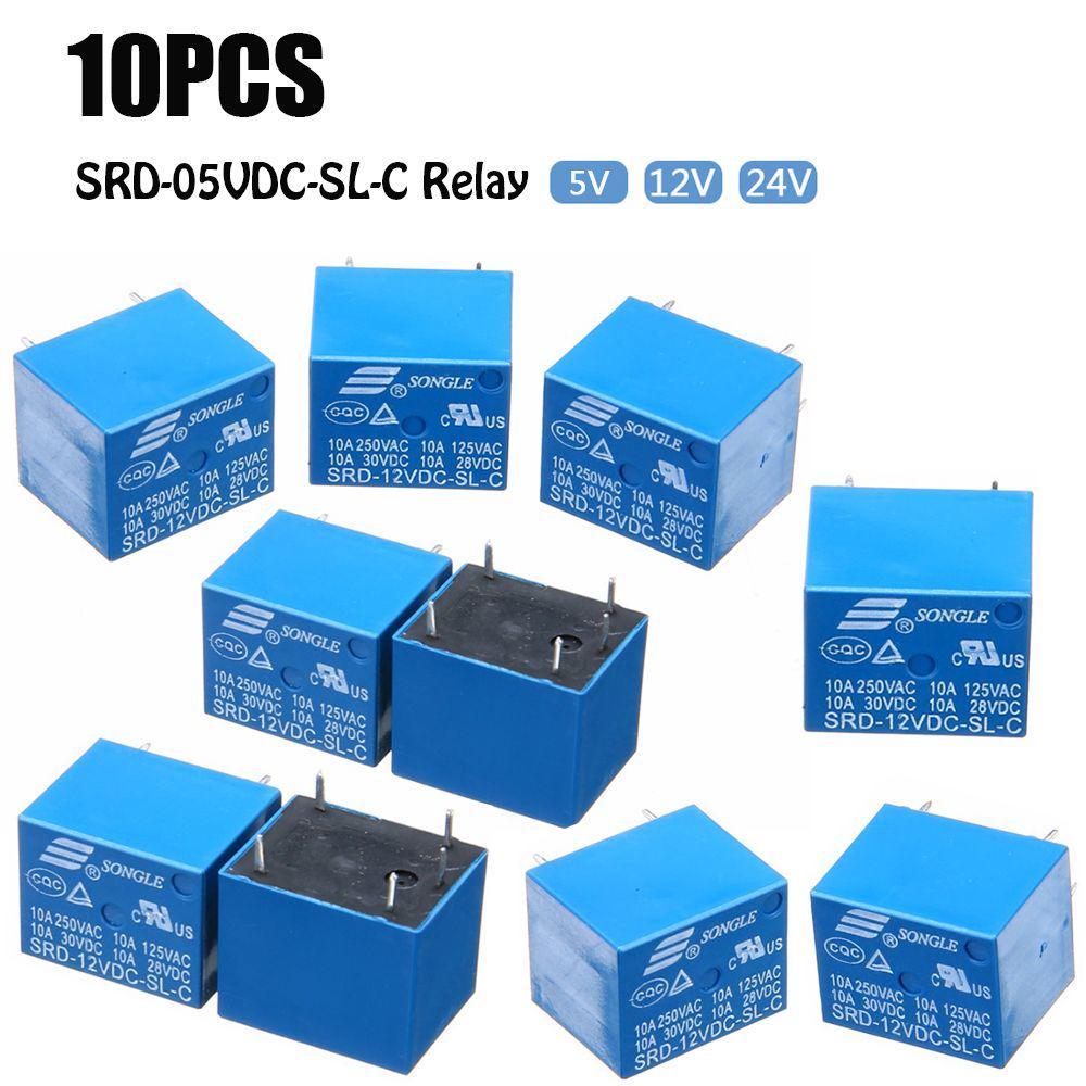 10 Pcs//lot Control Durable Normally Open Mini 5 Pins SRD-12VDC-SL-C Relay