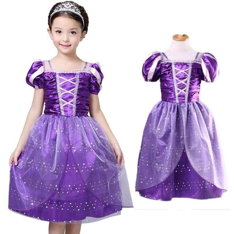 Chicas lujo Rapunzel vestido traje niños princesa traje Reino Unido ...