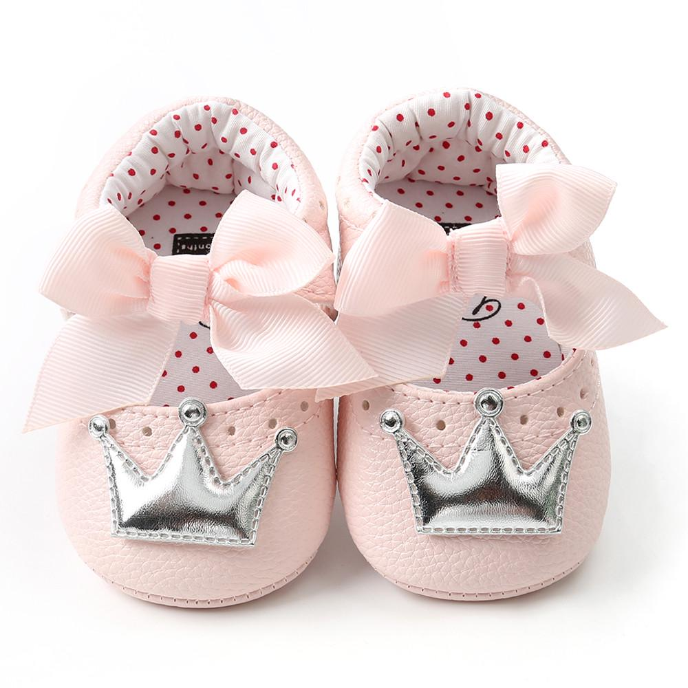 Newborn Infant Baby Girl Princess  Cown Bow Lace Toddler Polka Anti-slip Shoes