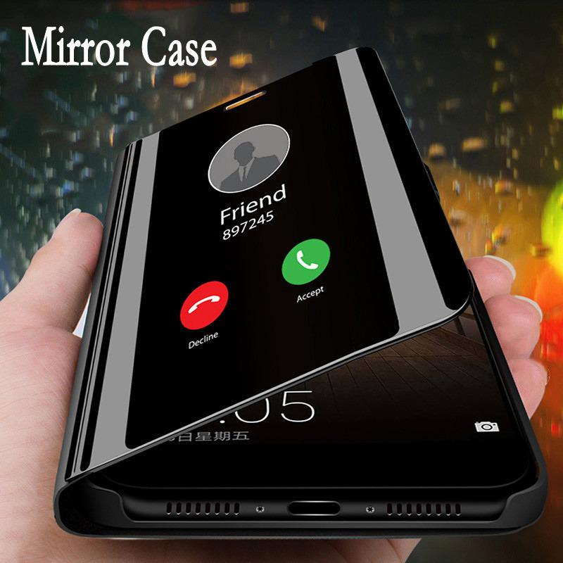 Smart View Зеркало Flip Телефон Обложка для Samsung iPhone Xiaomi для Huawei P30 Стенд Телефон Дело