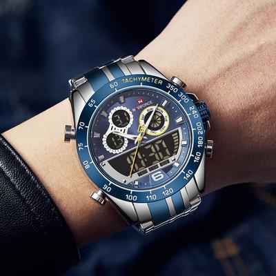 Dual Display Watch Men Luxury Brand Stainless Steel Digital Quartz Men Wrist Watches Waterproof Sport Wristwatches Mens