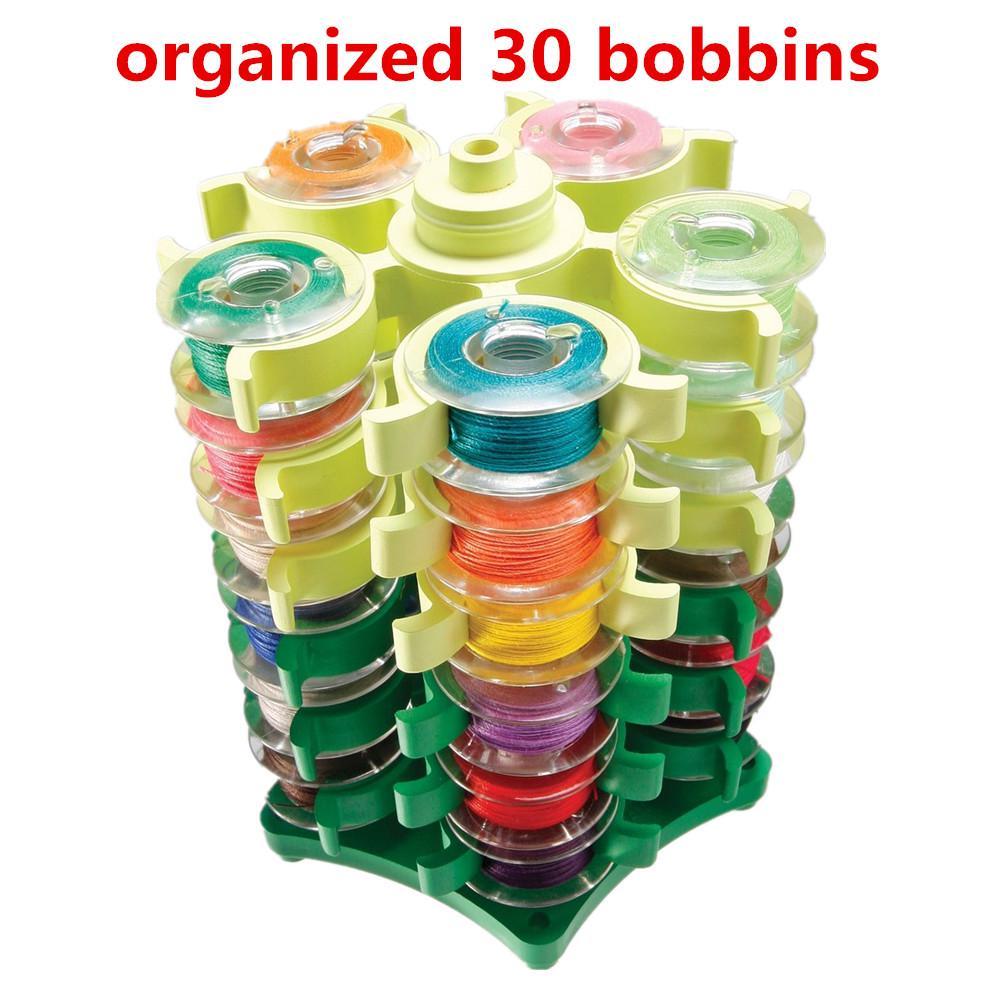 Бобина башня организовал 30 коклюшек швейная нить шпульки держатель зажим клипы для вышивки фото