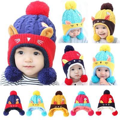 5bf36e321ed Infant Baby Kids Winter Warm Cute Hat Cap Boy Girl Cat Ear Knitted Crochet  Hat
