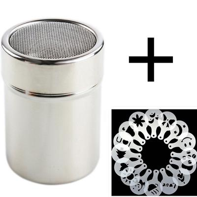 1 Pc Stainless Steel Chocolate Shaker Cocoa Flour Coffee Sifter + 16Pcs Coffee Stencils Template