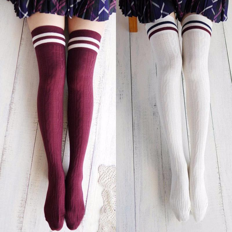 d646420c9f1 College Wind Women Hot Thigh High Socks Warm Cotton Over The Knee ...