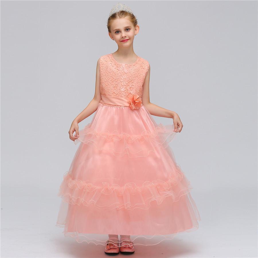 Niños vestidos para niñas boda tul encaje vestido flor elegante ...