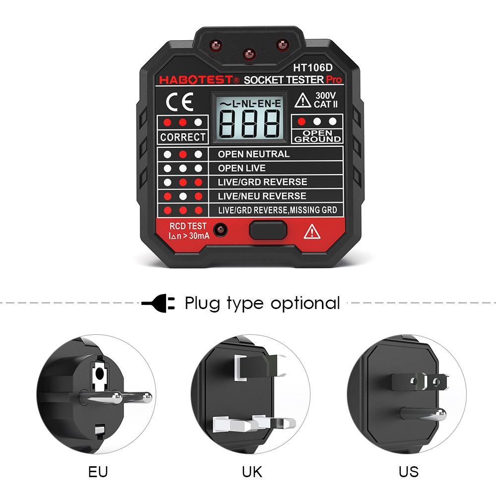 HABOTEST Digital Display Socket Tester Leakage RCD Test Power Supply Voltage