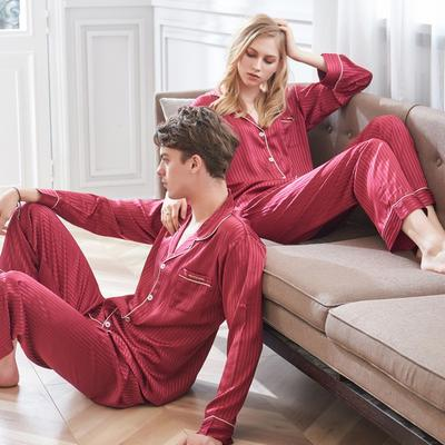 94ab37eec9 Xifenni Red Striped Faux Silk Couple Pajamas Autumn Long-Sleeved Sleepwear  Female Male Thin Soft