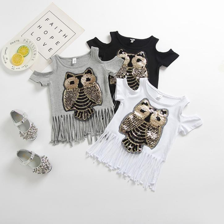 09007e6152c4d Children Kid Girls Owl Sequined Tassel Backless T-shirt Summer Tops Shirts  Tee-buy at a low prices on Joom e-commerce platform