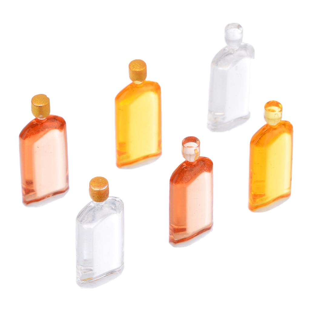 6 Dollhouse Miniature 1:12 Wine Whiskey Bottles Set Shop Pub Bar Drink Accessory