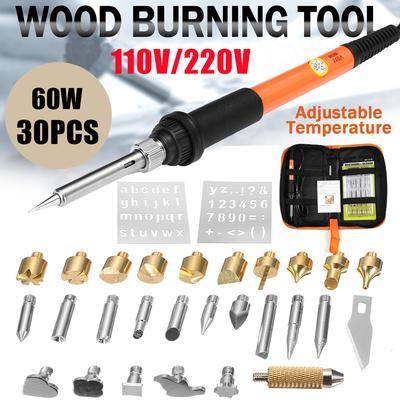 37PC 60W Wood Burning Pen Set Tips Stencil Soldering Tools Pyrography Crafts Kit