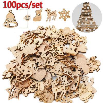 100pcs/set Christmas Wood Chips
