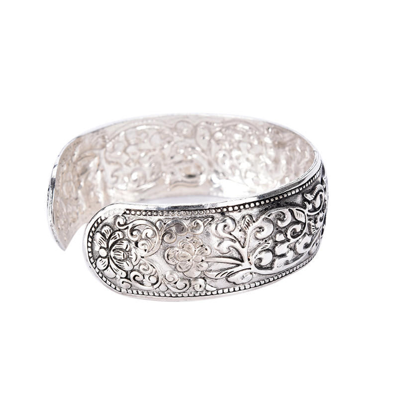 Tibet Silver Happy Lucky Double Fishes Flower Bangle Cuff