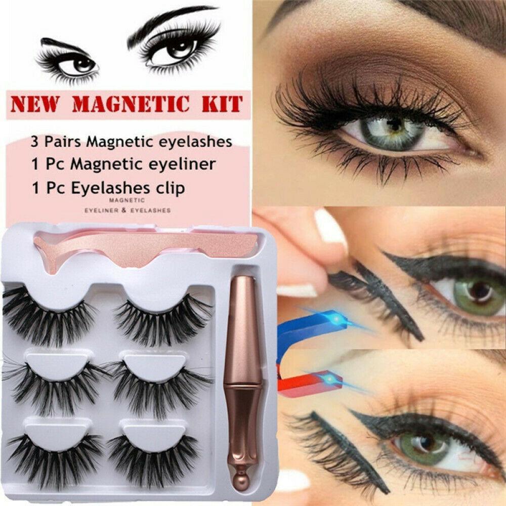 Магнитные магнитные ложные ресницы и магнитная жидкая подводка для глаз и пинцеты Установить водонепроницаемый фото