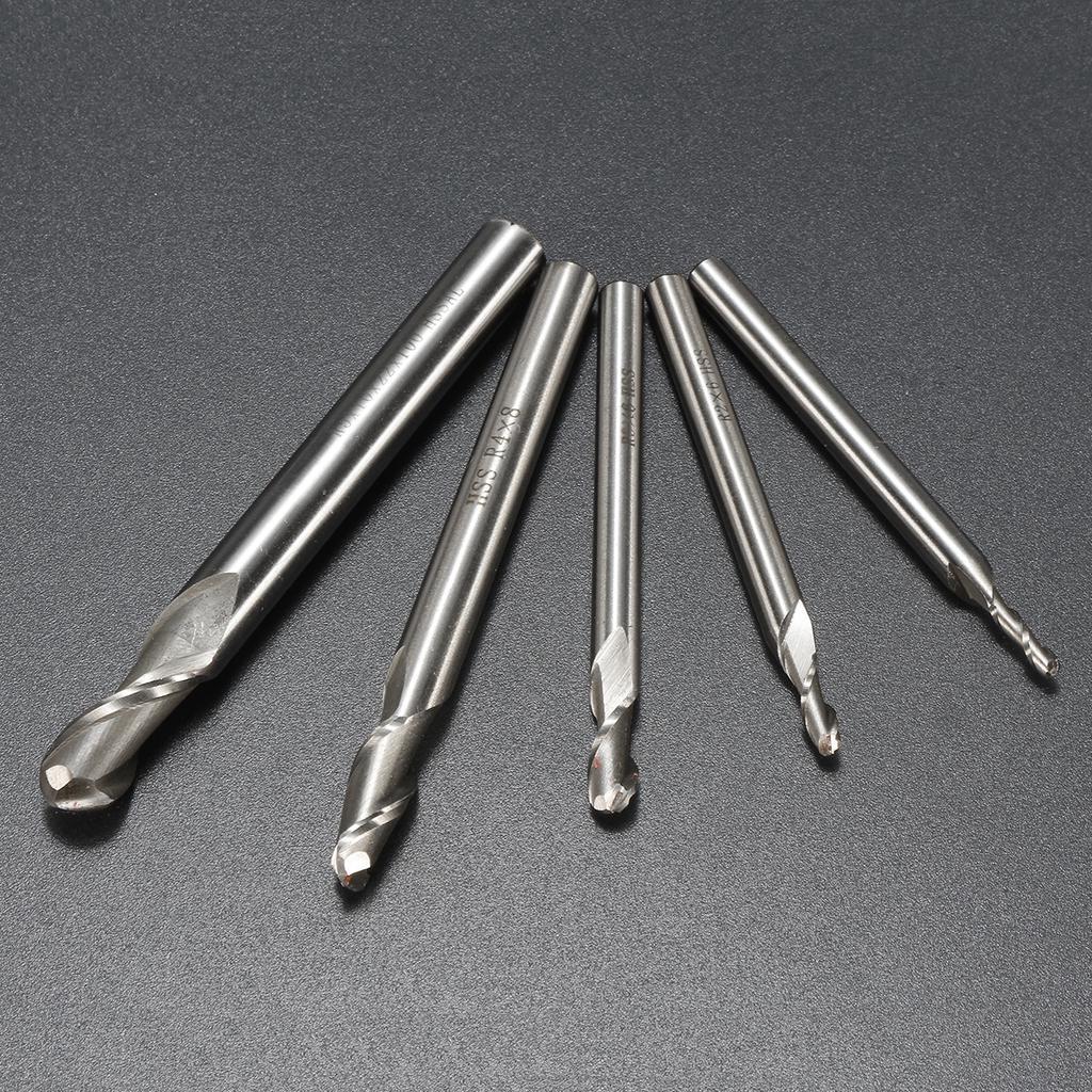 """5x 1//4/"""" 20mm Spiral Bit End Mill Cutter Set CNC Four Flute Router Set"""