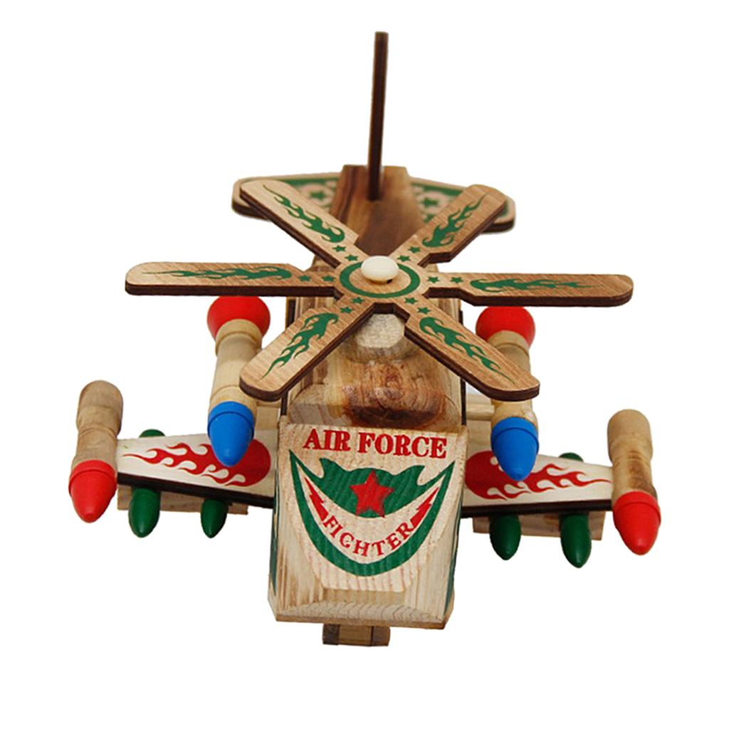 Wooden War Wolf Helicopter Model Toy for Living Room Desk Decoration Ornaments