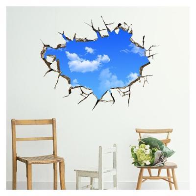 1 Pc 3d Mavi Gökyüzü çıkarılabilir Pvc Duvar Sticker Tv Arka Plan