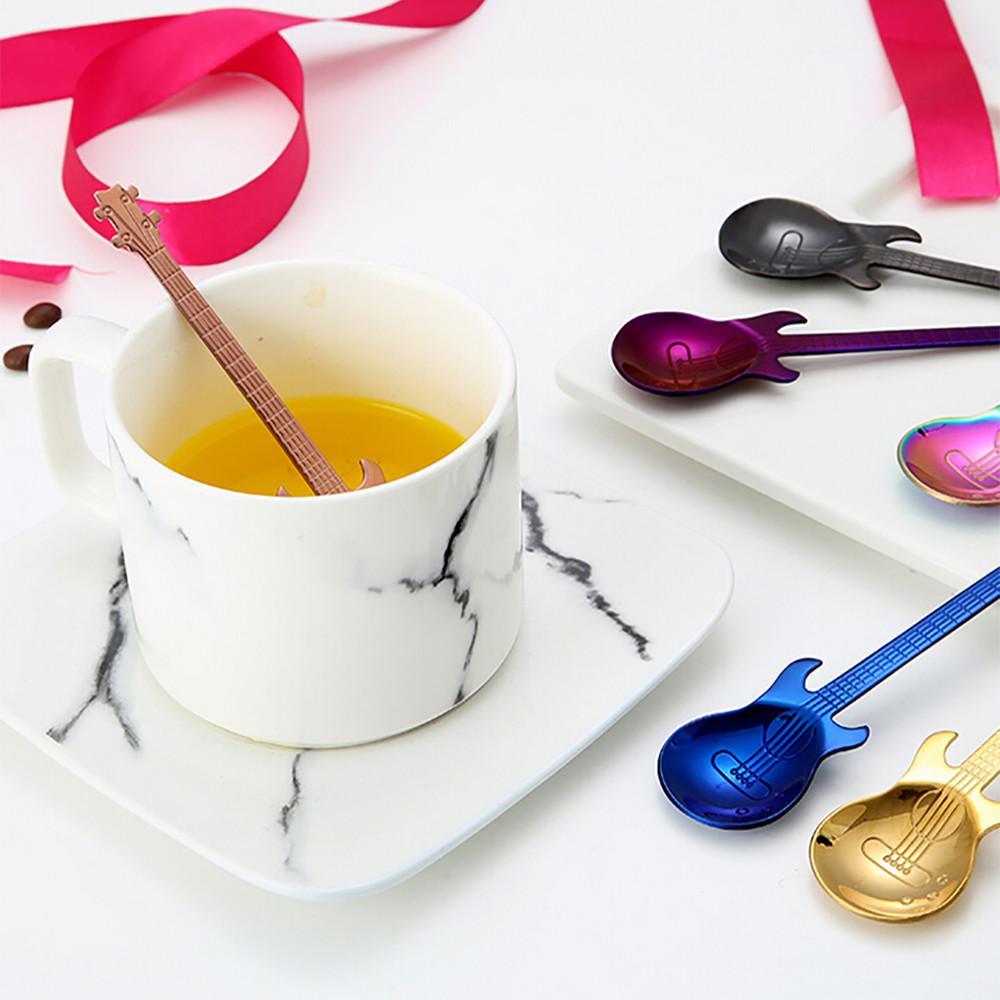 Stainless Steel Guitar Shaped Spoons Tea Spoon Coffee Flatware Drinking Tool