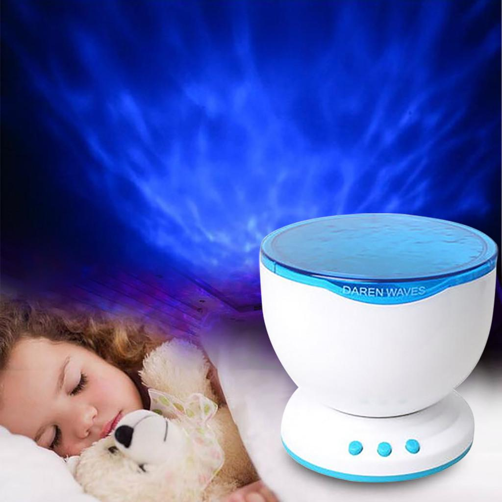 Calming Sensory LED Projector Night Lights Ocean Wave Relax Music Lamp Kids Gift