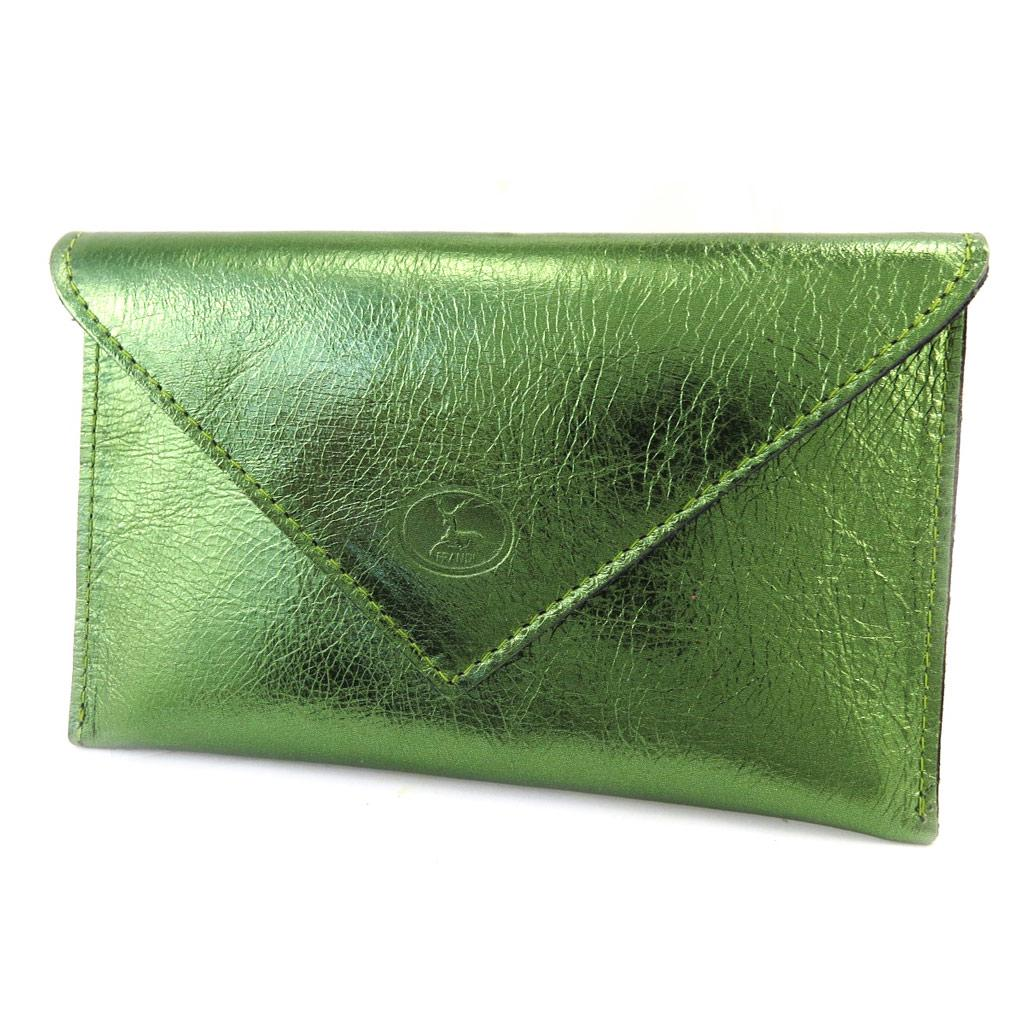 Large leather wallet Frandi grained gray.