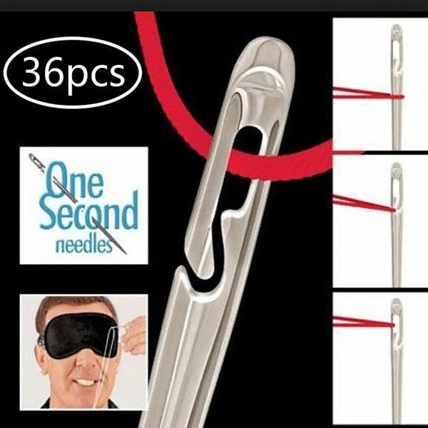36pcs Швейные иглы Сторона открытия нержавеющей стали Дарнинг Швейные бытовые руки DIY Вышивка Инструменты фото