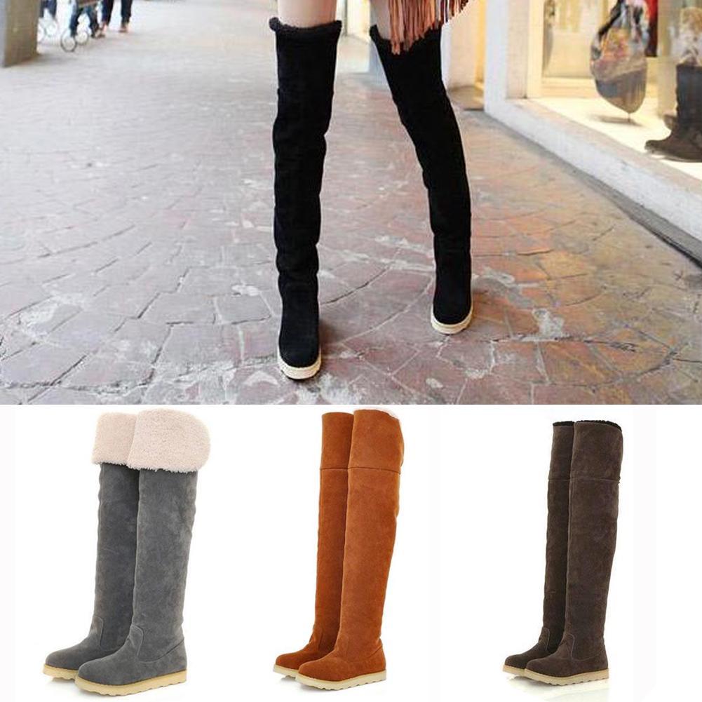 欧美秋冬新款过膝靴女加绒加厚磨砂绒面显瘦长靴平底保暖雪地靴潮