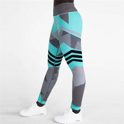 Impresión geométrica cintura alta Casual Yoga pantalones Fitness deporte  prendas mujer 53acc0939350