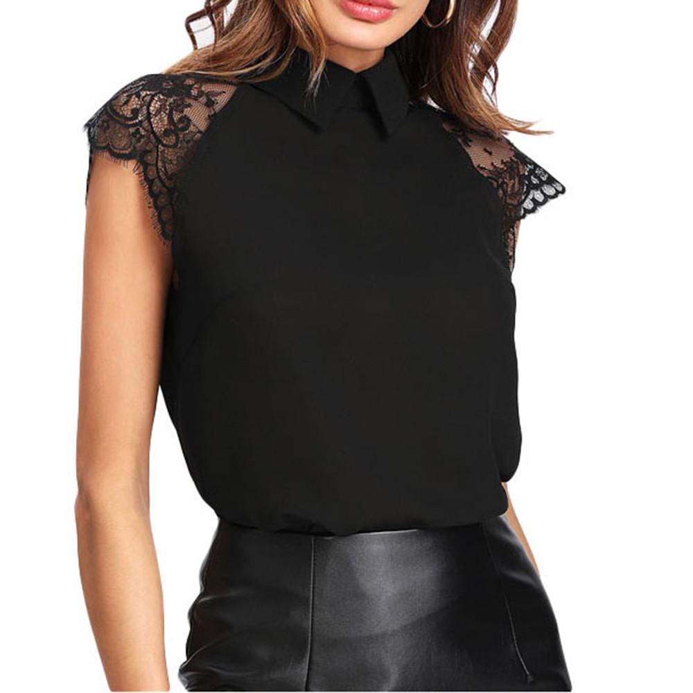 9b6baeb235d Футболка цветочные кружева блузка Питер Пан воротник кнопка женщин ...