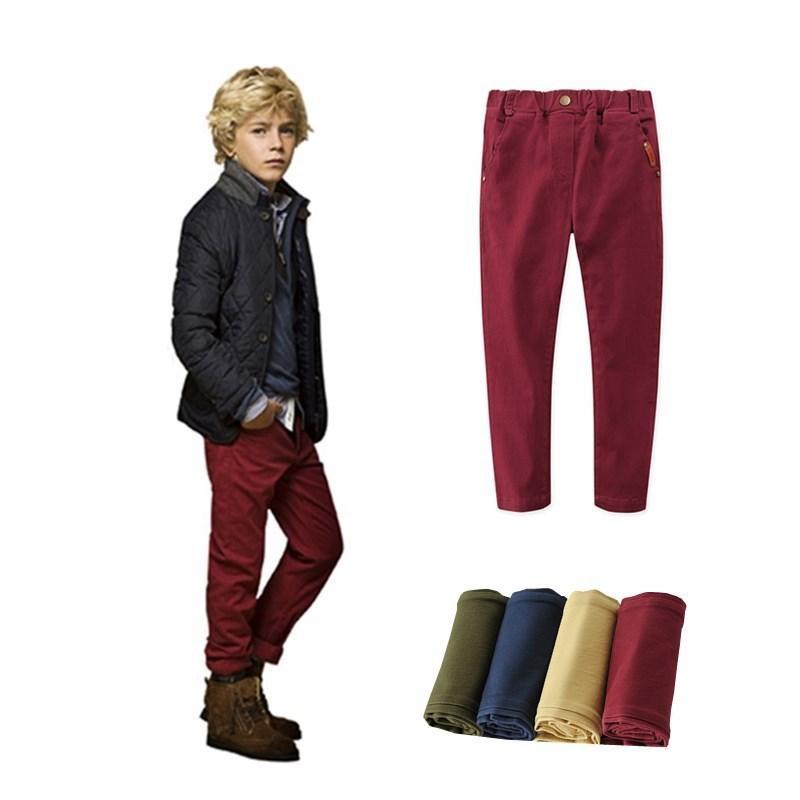 Новые детские брюки Классический случайный твердый цвет Детские брюки упругость Хлопок Брюки для мальчиков Одежда – купить по низким ценам в интернет-магазине Joom