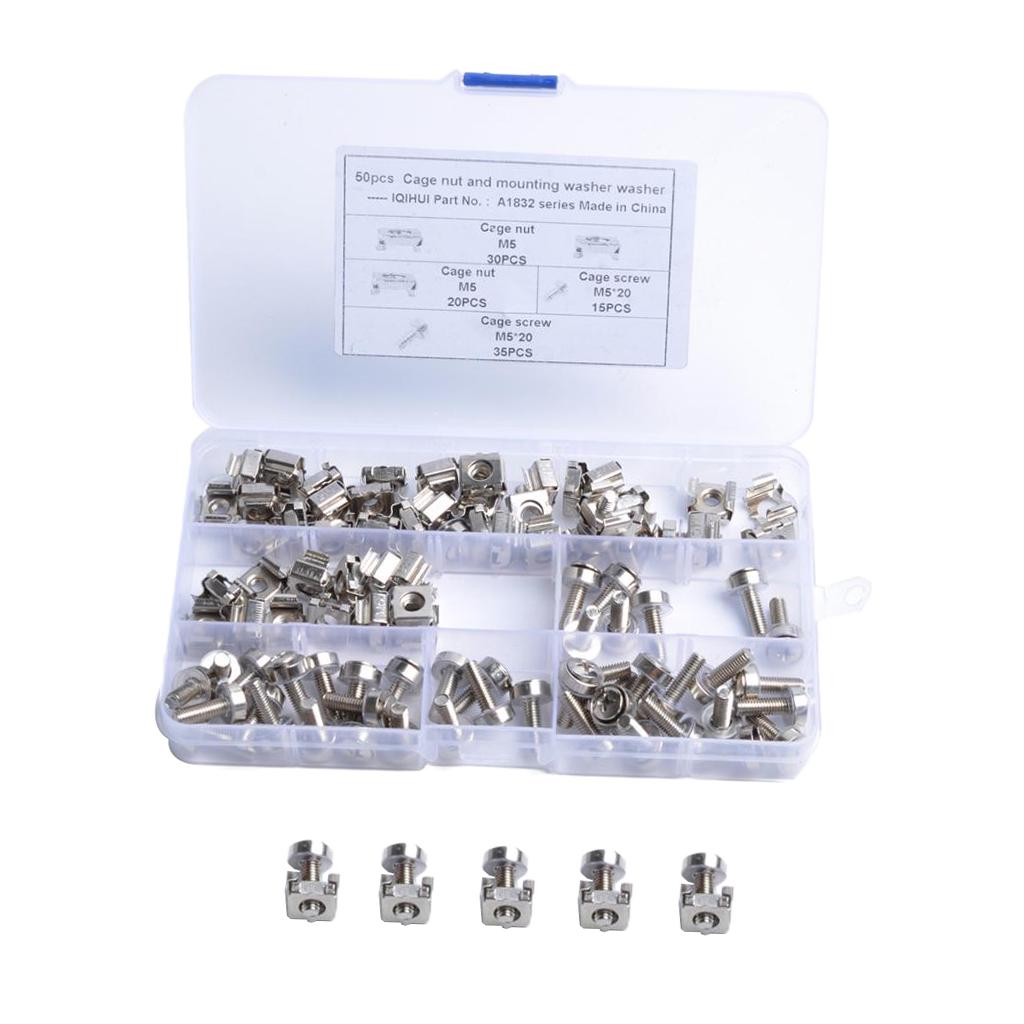 CAGE NUTS and WASHERS USA SCREWS SERVER RACK MOUNT 10 PACK LOT CAGE NUTS