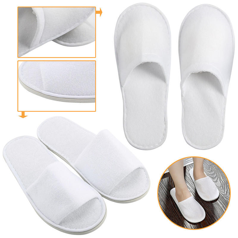 1 Pairs Towelling Hotel Slippers Spa Guest Disposable Travel White Shoes Unisex