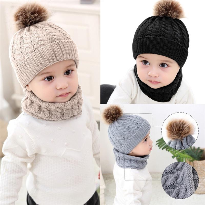 Pompom Ball Winter Warm  Newborn  Scarf Set Baby Knit Hat Beanie Cap Crochet