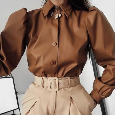Women Long Puff Sleeve Turn Down Collar Shirt Button Leather Elegant Fashion Autumn Winter Blouse Tops