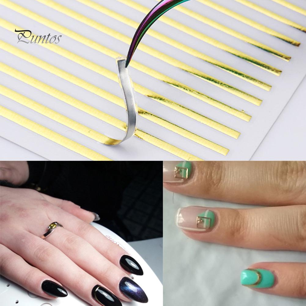 Puntos 9x8cm Лазерный ногтей наклейка полоса линии ленты 3D Клейкие украшения DIY Декал